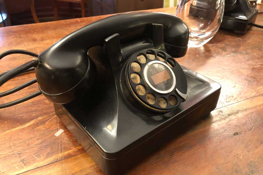 antique phone on desk