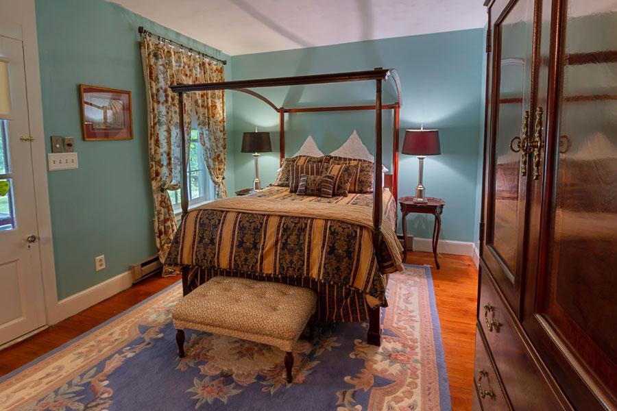 vine cottage bedroom with blue walls in natural bridge, virginia