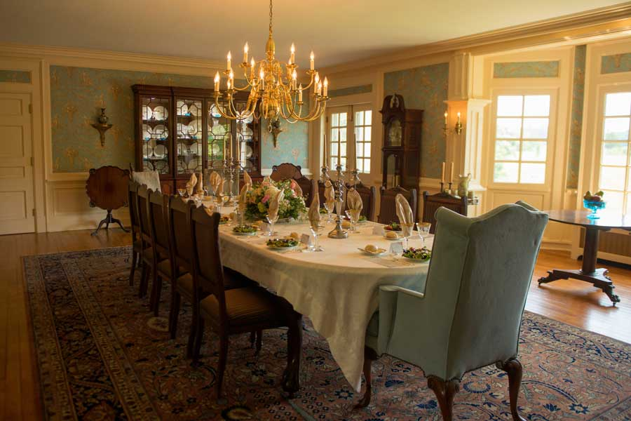 dining room ready for an event at the inn at forest oaks