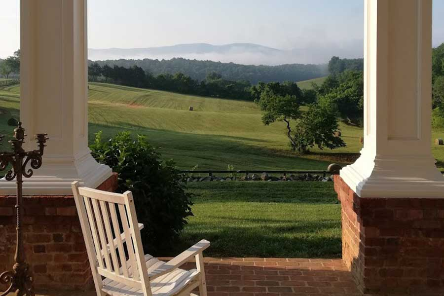 rocking chair with virginia mountain views at the inn